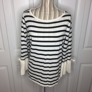 LOFT Outlet white and black striped sweater